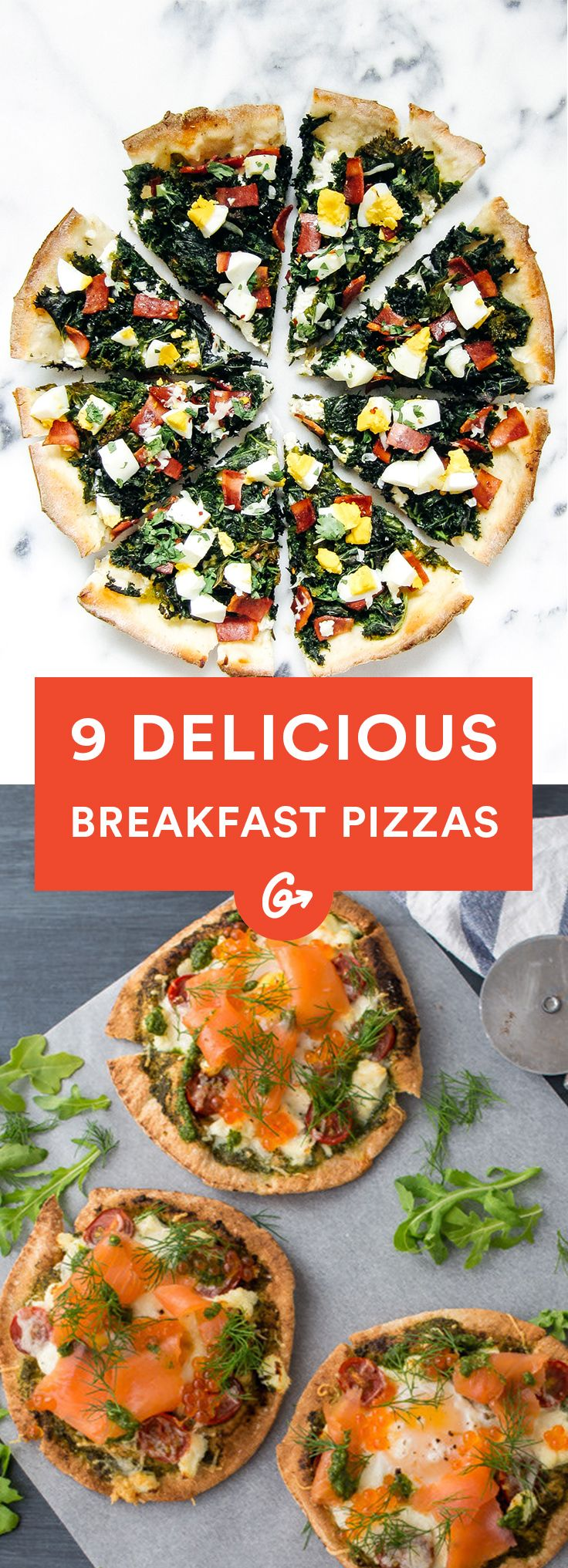 These recipes take breakfast staples, from eggs to bacon to smoked salmon, and turn them into a... #healthy #breakfast #pizza http://greatist.com/eat/healthy-breakfast-pizza-recipes