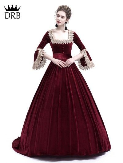 57a72e6e94a3 Rose Blooming Wine Red Velvet Ball Gown Theatrical Victorian Gown -  DarkinCloset.com