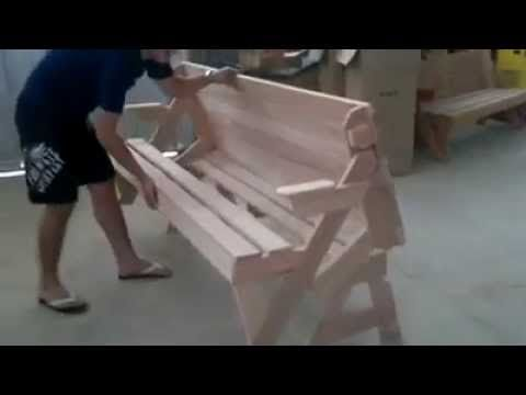 Turn bench into Picnic Table ! - YouTube