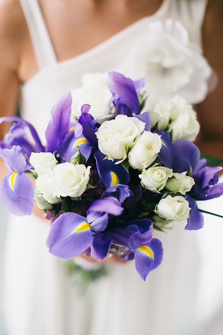 #iris, #bouquet  Photography: B Hull Photography - bhullphotography.com  Read More: http://www.stylemepretty.com/tri-state-weddings/2014/02/28/traditional-westchester-wedding-at-the-ritz-carlton/
