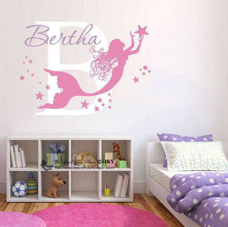 Mermaid Custom Personalised Wall Stickers Nursery Decor Girls Decal Art  Mural AU Part 82