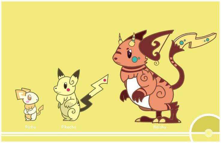 "cosmopoliturtle: ""Pokemon Redesign #172-025-026 - Pichu, Pikachu, Raichu "" –Revamped Pikachu and Raichu redesigns. :)"