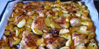 Pečené kuře s majoránkovými brambory na jednom pekáči 2v1!