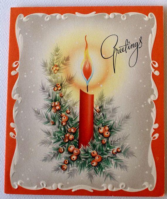 1940s Vintage Candle Christmas Card, unused