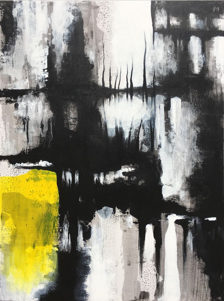 """Laws of Nature II by Ryan Burgdorfer , 40 x 30"""" acrylic on canvas www.ryanburgdorfer.com black-white-yellow-abstract-art-acrylic-on-canvas"""