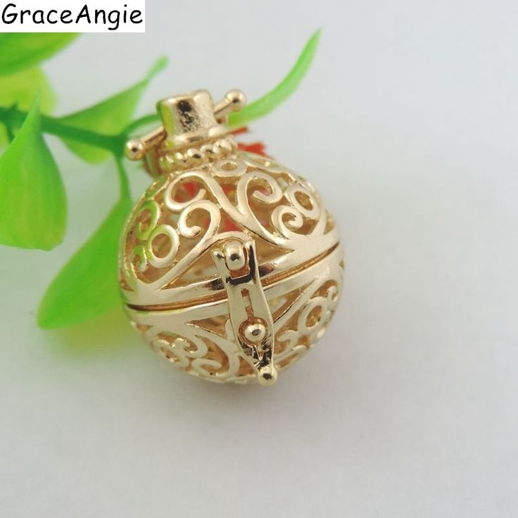 Gold Copper Jewelry Aromatherapy Harmony Ball Lockets Essential oils Diffuser Necklace Women aroma Floating Locket Pendant 39713 #Affiliate