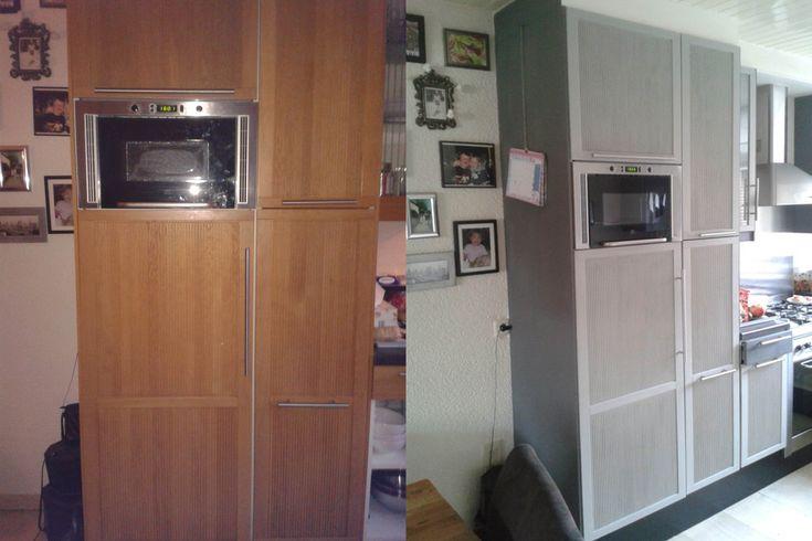 """Dat je een keuken volledig kunt transformeren blijkt uit deze foto's die wij kregen van Berry en Kitty met de tekst """"Hierbij de foto's van de verandering van de keuken.Front van kastjes gedaan met parish grey en de zijkanten met 2 delen graphite en 1 deel parish grey.Zo heb je voor weinig geld een compleet nieuwe keuken!""""."""