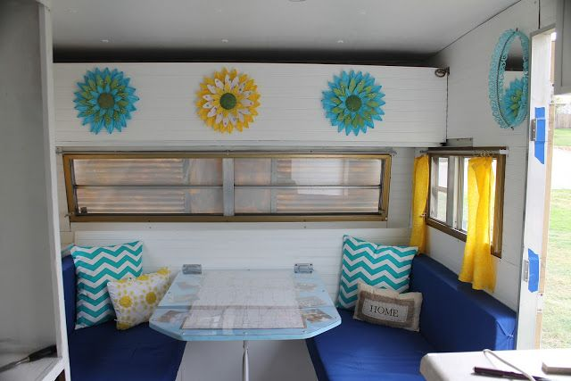 Here's a CO couple that redid their camper. They have some nice ideas like this map/table.  Still Going Strong: Jayco Camper Renovation Posts