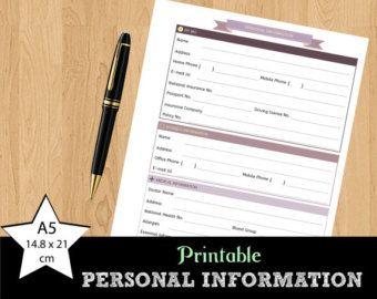 Información personal | Contacto de emergencia | Para imprimir | Diseño simple | A5 14.8x21 cm | DESCARGAR INSTANT PDF