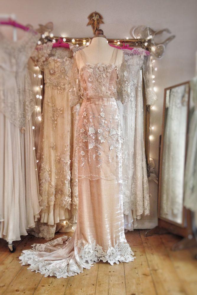 Silk Velvet Wedding Dress In A Belle Epoque Inspired Style