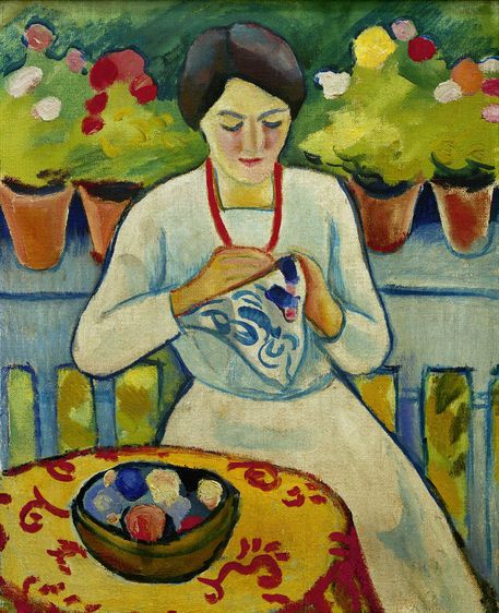 "August Macke, Frau auf Balkon"" Picture art prints and posters by ..."