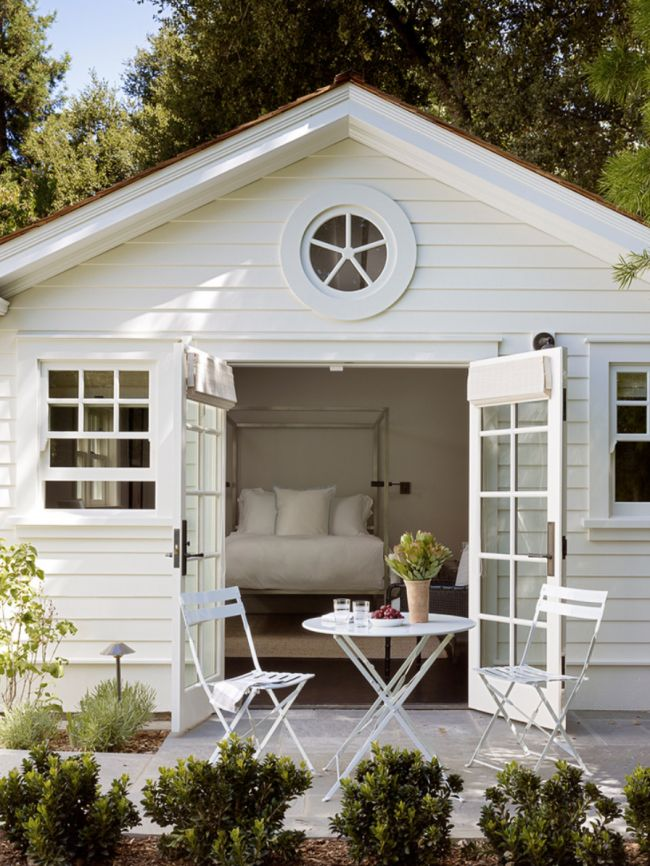 25 best ideas about backyard guest houses on pinterest for Shed into pool house