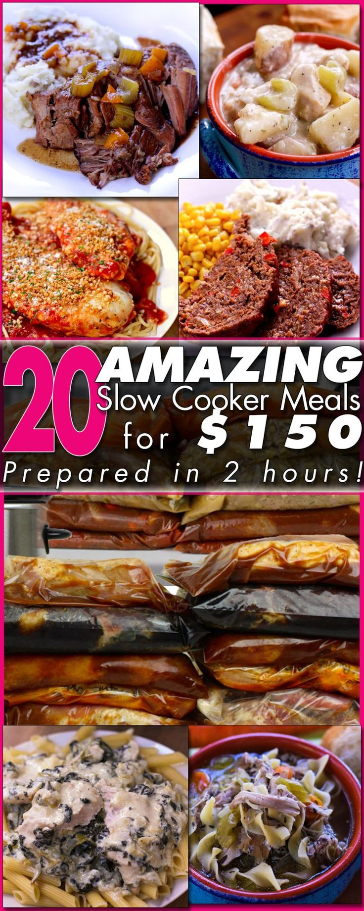 Stop stressing over dinner! For $150 and about 2 hours, you can have 20 DELICIOUS Freezer Meals prepped and ready to go!