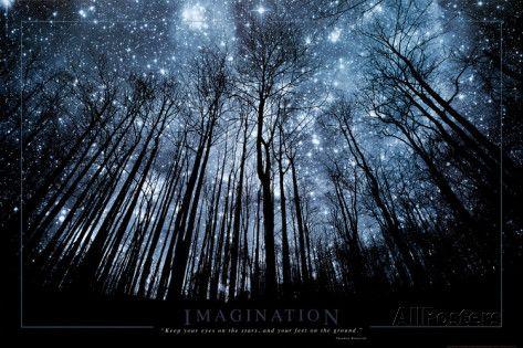 Verbeelding, Sterrenhemel door boomtakken, Engelse tekst: Imagination Keep Your Eyes on the Stars Poster bij AllPosters.nl