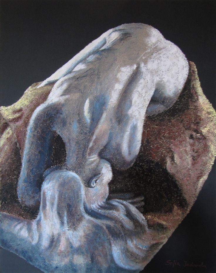 LA DANAIDE - omaggio a Rodin acrilico e sabbia su tela (60x80)