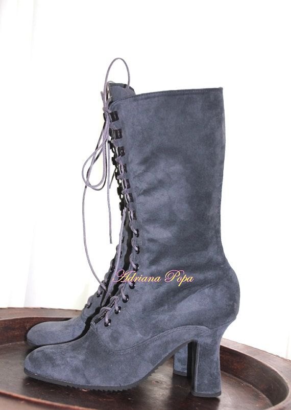 Grey suede leather Victorian shoes Victorian Boots lace up