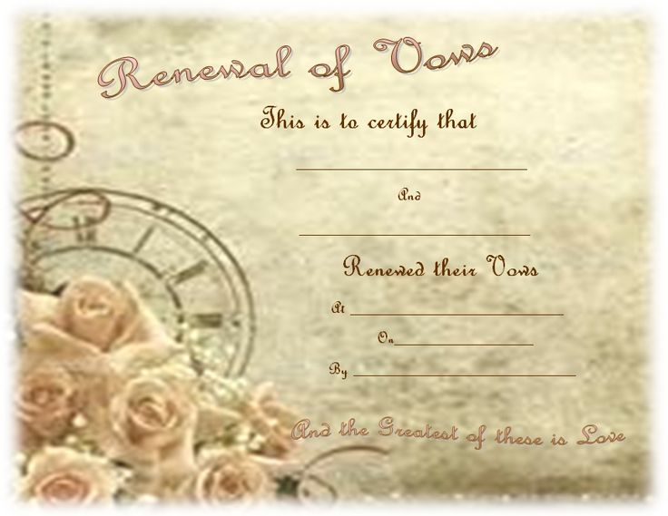 16 best Vow Renewal Certificates images on Pinterest Vow renewals - new llc membership certificate sample