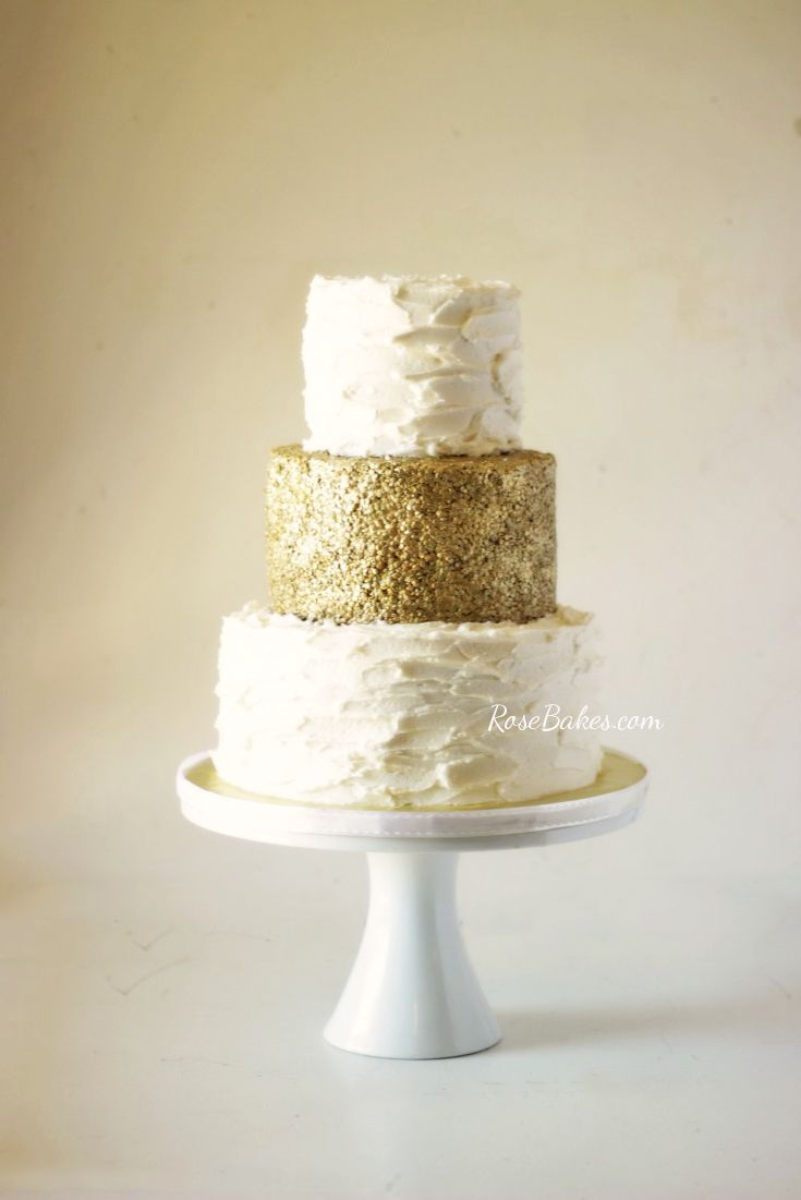 Rustic white amp gold for christian s baptism cake cakes dessert - 50th Wedding Anniversary Gold Sequins Rustic Buttercream Cake