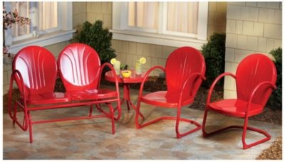 Retro Metal 4pc Patio Set Red In Spring Big Book Pt 1