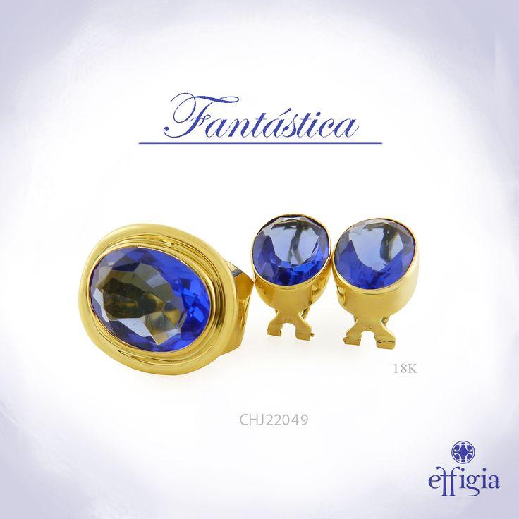 Effigia presenta este elegante juego de oro amarillo de 18k con obsidianita azul. ¡Brilla con siempre con Effigia! #Oro #JoyasHechasAMano