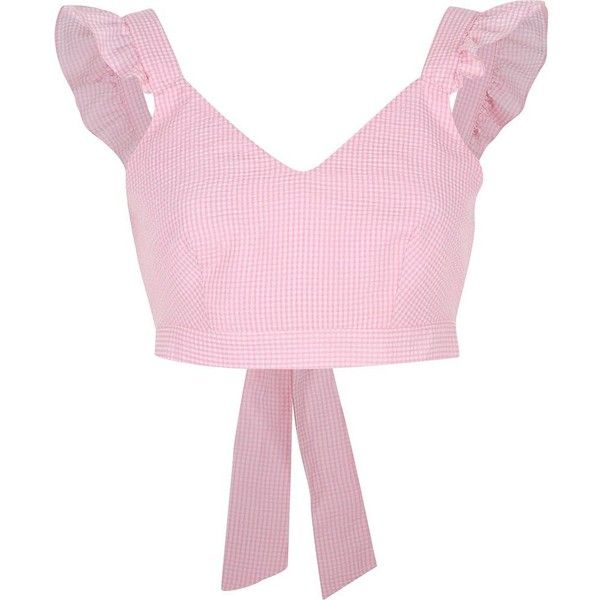 River Island Pink gingham frill shoulder crop top (£43) ❤ liked on Polyvore featuring tops, crop top, pink, river island, crop tops / bralets, women, bralette tops, print crop tops, v neck tops and pink top