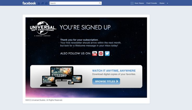 Universal - Social Media Confirmation Signup Page