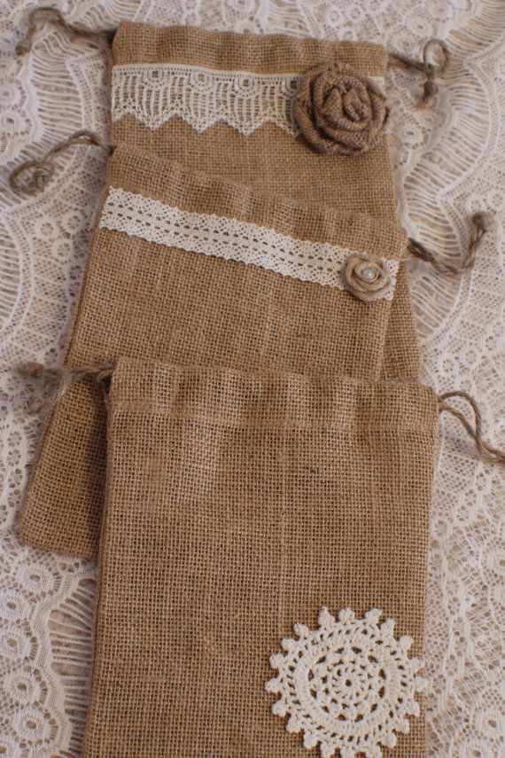 small embellished burlap bag