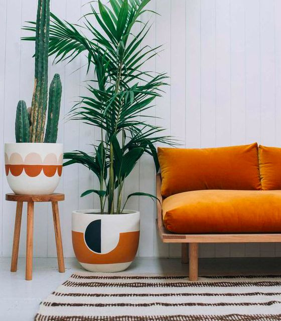 Desert style with cacti and velvet sofa - part of the 'Desert Chic' interior design trend in our top 10 trends for 2017.