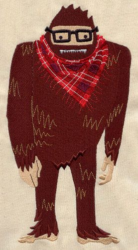 Hipster Sasquatch Bigfoot Swamp Ape by EmbroideredbySue on Etsy, $14.99