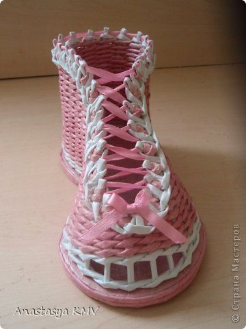 Мастер-класс Поделка изделие Плетение Башмак - 2 плетеный из бумаги МК мастер-класс  Бумага фото 16