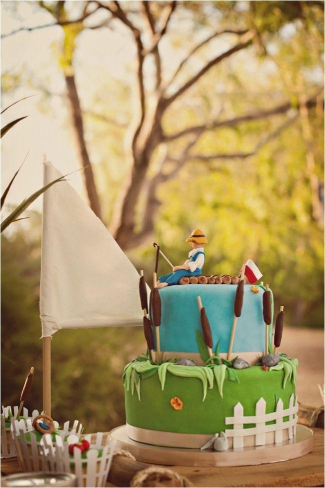 Boys First Birthday Fishing Themed Cake www.spaceshipsandlaserbeams.com