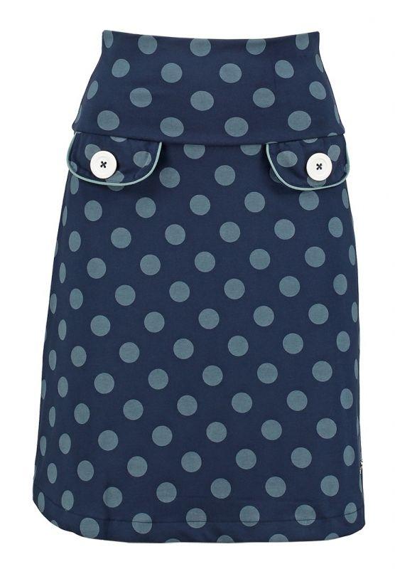 Tante Betsy Retro Dots skirt dark navy blue light blue polkadots print rok donker blauw licht blauwe stippen print