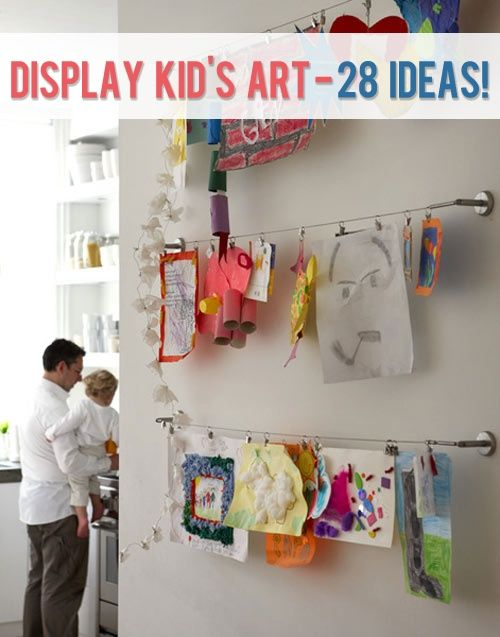 Howdoesshe display kid 39 s art curtain rods good ideas for Curtain display ideas