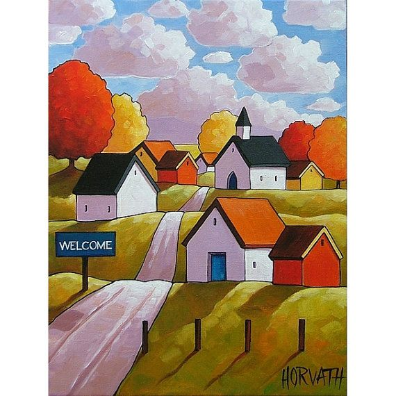 How lovely!  PAINTING ORIGINAL Folk Art Abstract Fall Town by SoloWorkStudio, $169.00
