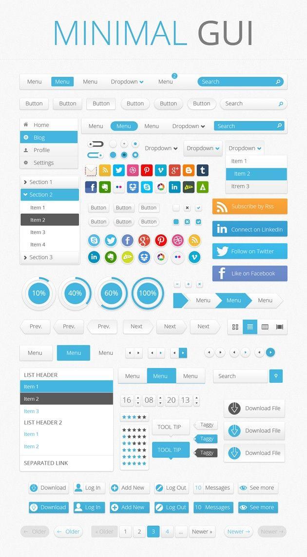 Minimal GUI, más de 1000 gráficos gratuitos para interfaz de usuario