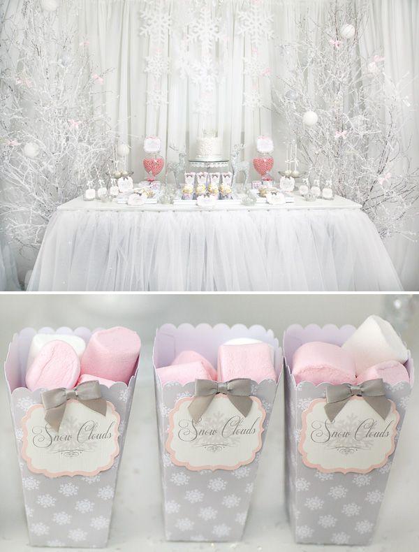 Whimsical & Wintery Snow Princess Dessert Table