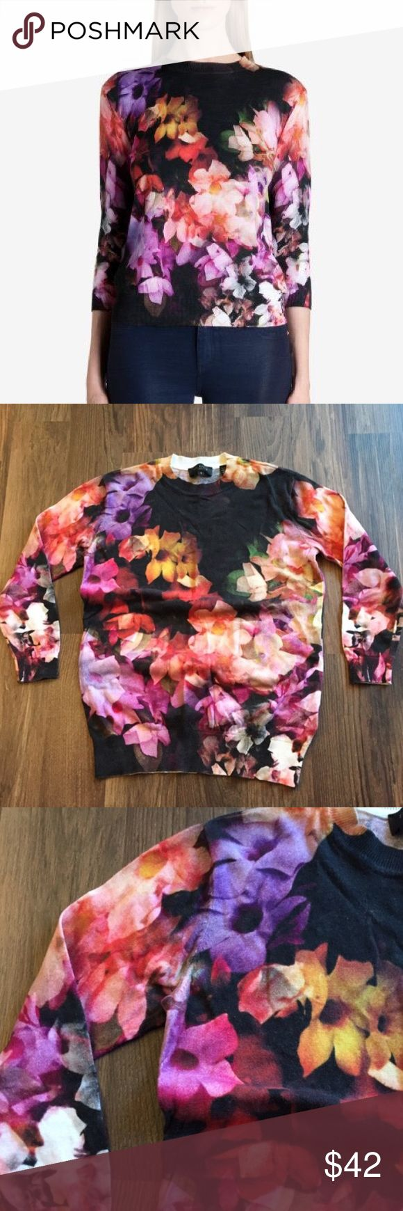 Ted Baker floral mid-sleeve Sweater Ted Baker floral mid-sleeve top/sweater. Perfect for showing off your watches and bracelets. Match this up with some casual jeans or dress it up with a skirt! Super cute and girly! Ted Baker Sweaters Crew & Scoop Necks