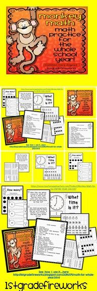 Math for the Entire YEAR! Math Skill Cards aligned to CCSS 20 skills for Grade 1 Cards for Bulletin Board display. Print cards, place in pockets, attach to wall. Student printables for accountability.https://www.teacherspayteachers.com/Product/Monkey-Math-for-the-ENTIRE-YEAR-1461597