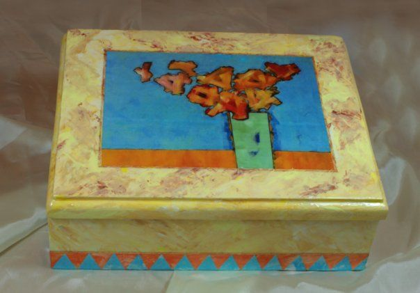 Hand made decorate box, fake marble marquetry and Découpage print by permission of Artist Ronnie Watt