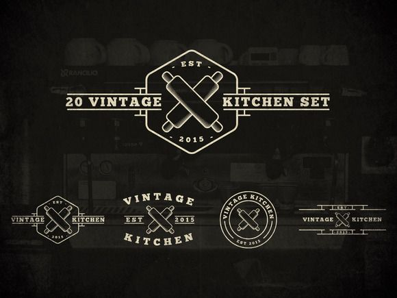 20 Vintage Kitchen Logos by MusiqueDesigns on Creative Market