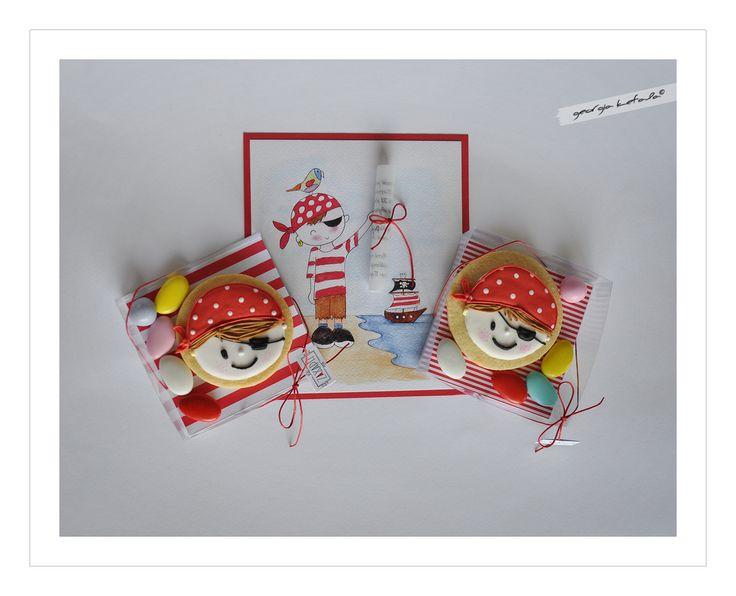 Μπισκότα - Μπομπονιέρες & Πρόσκληση με θέμα: Πειρατές, τα μπισκότα βασίστηκαν σε σχέδιο της  Marielle de Vroome (dekoekenbakkers).