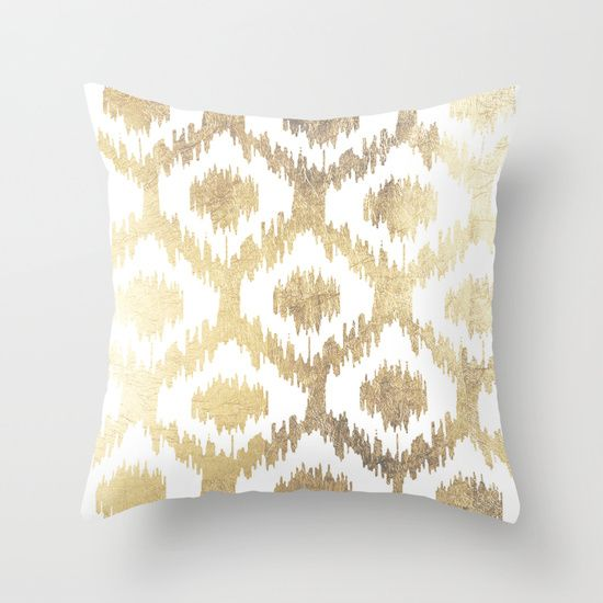 High Quality Modern White Hand Drawn Ikat Pattern Faux Gold Throw Pillow