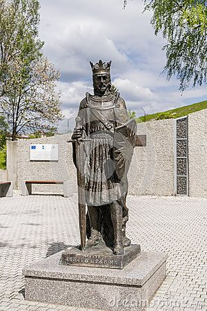 Monument to the prince Leszek Czarny on the promenade in the city Busko-Zdrój in Poland