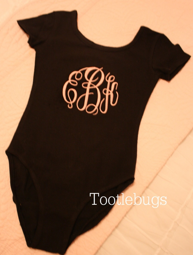 Girls Personalized Monogram Gymnastics Dance Ballet and Tap Leotard in black and pink. $22.00, via Etsy.