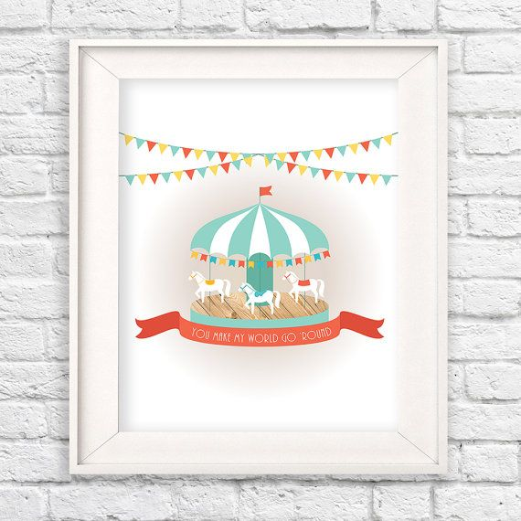 "Modern carousel wall art with quote, ""You make my world go 'round."" Playful colors and unique wood texture makes a very cute modern nursery, Modern kids room, carnival nursery, carnival kids room, colorful wall decor, kids room decor, merry go round, carousel art, illustration, modern nursery, unisex nursery idea #teampinterest"