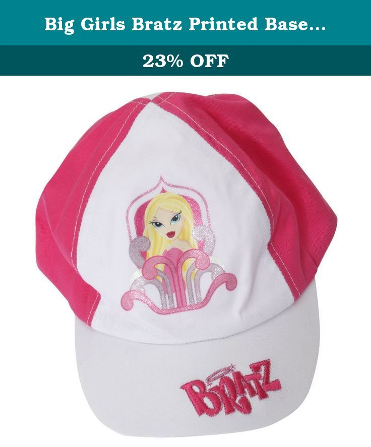 Big Girls Bratz Printed Baseball Cap (4-8 Years) (White/Pink). Great quality kids cap. Perfect for a Bratz fan. Comfortable fit. Elasticated back for comfort. Fiber: 100% Cotton. Machine washable.
