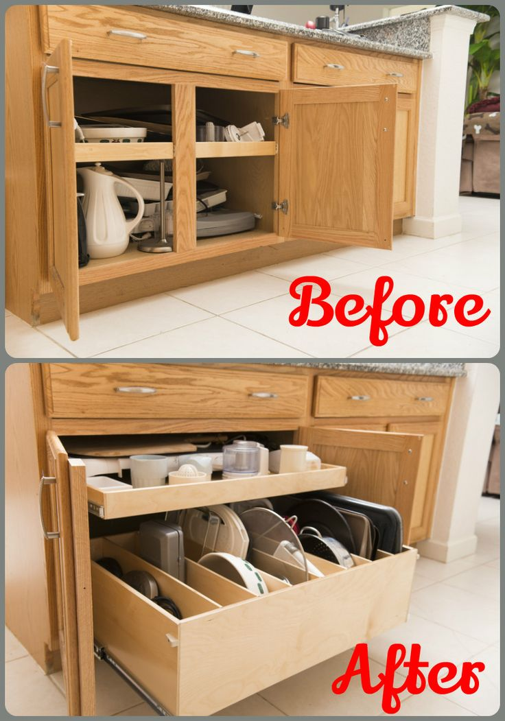 increase access to your kitchencabinets by removing the center stile and installing custom pulloutshelves - Kitchen Cabinets Storage Ideas