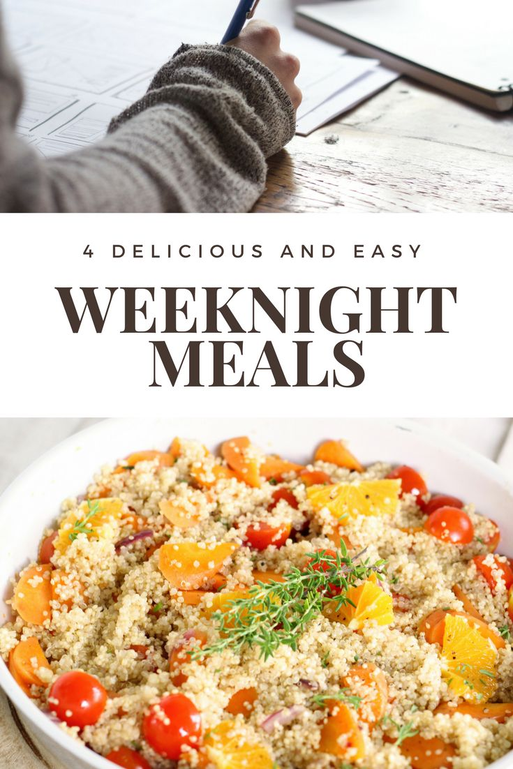 Weekday meals a tip and recipes | 4 weekday meal ideas | weeknight meals | weekday dinners | weeknight dinners | healthy and easy family dinners | gluten free and vegan dinners | grocery shopping tip | meal planning tip | ourguidetotheeveryday.com