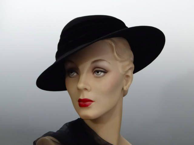 Black Felt Fedora Women's 1940's Hat WW2 Fashions by SueEllensFlair on Etsy