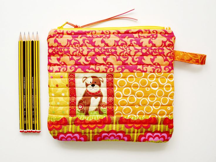 Puppy Pouch for Dog Lover- Christmas Gift - Present for her - Makeup Bag - Orange Zipper Purse - Project Bag - Handmade Patchwork Pouch by NerosPost on Etsy